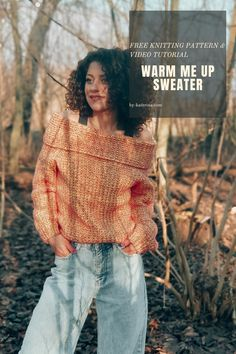 Easy Sweater Knitting Patterns, Free Knitting, Free Crochet, Knit Crochet, Crochet Patterns, Yarn Crafts, Warm, Knit Sweaters, Fiber Art
