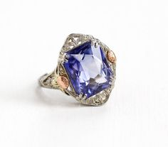 Sale - Antique 14k White Gold Created Sapphire Ring - Size 6 1/2 Vintage Filigree Rose Yellow Gold Flower Art Deco 1920s Fine Jewelry