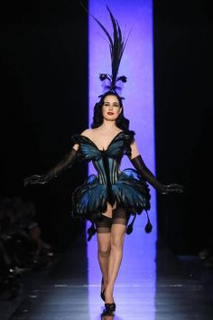 Dita von Teese at Gaultier Spring 2014 Couture show