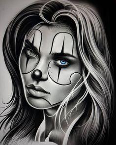 Tattoo Girls, Skull Girl Tattoo, Girl Face Tattoo, Clown Tattoo, Girl Tattoos, Arte Cholo, Cholo Art, Lowrider Art, Chicano Tattoos Sleeve