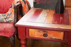end table painted with a Boat-Wood Effect Patina