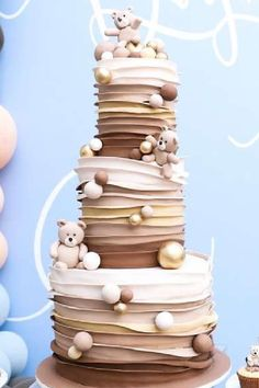 Don't miss this wonderful teddy bear baby shower! The cake is amazing! See more party ideas and share yours at CatchMyParty.com
