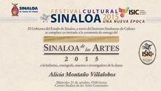 Invitación a la Ceremonia de Entrega del Premio Sinaloa de las Artes 2015, a la bailarina, coreógrafa, maestra e investigadora de la danza, Alicia Montaño Villalobos. Miércoles 21 de Octubre, 19:00 horas, Centro Sinaloa de las Artes 'Centenario'