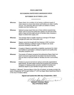 Portland, ME - Mayoral proclamation recognizing Diaper Need Awareness Week (Sept. 28 - Oct. 4, 2015)  www.diaperneed.org  #DiaperNeed