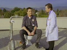 Scrubs.  Roof toilet!