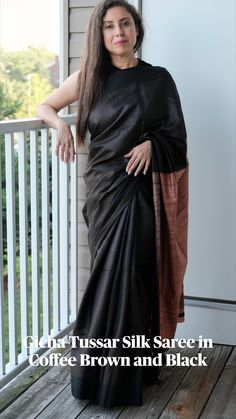 Beautiful Clothes, Beautiful Outfits, Beautiful Women, Tussar Silk Saree, Elegant Saree, Mulberry Silk, Beautiful Saree, Saree Blouse Designs, Black Love