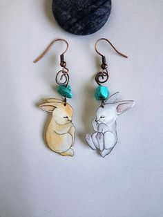 Bunny Turquoise Earrings Sleeping Bunnies by LavanitaDesign