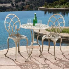 Outdoor Bistro Set 3-piece Porch Deck Garden Patio Table Chairs Furniture Metal #DoesNotApply