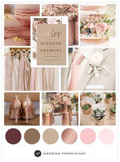 Actual Wedding Color Palette Marsala Blush Rose Gold Ivory Cream