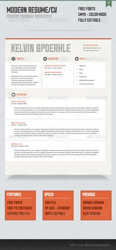 Modern Resume/CV — Photoshop PSD #developer #android • Available here → https://graphicriver.net/item/modern-resumecv/3507191?ref=pxcr