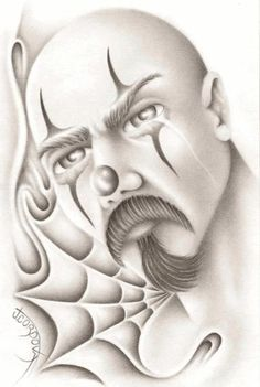 chicano art I'm going to attempt to draw this out Chicano Art Tattoos, Chicano Drawings, Gangster Tattoos, Tattoo Drawings, Arte Cholo, Cholo Art, Arte Lowrider, Chicano Love, Latino Art