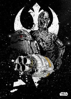 droids c3po r2d2 shuttle rebel star wars lucas