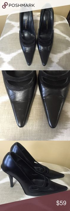 "Farhat Day Black Leather & Suede Pumps  6.5M Excellent condition!  Farhat Day Black Leather & Suede Pumps 6.5M With 4.5"" Stiletto Heels. Only worn once! Farhat Day Shoes Heels"