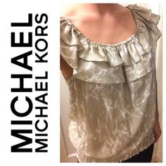 Donating 12/12! MICHAEL MK beige ruffle top MICHAEL Michael Kors. 100% silk; gently used(work only ~2x) MICHAEL Michael Kors Tops