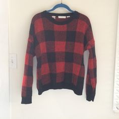 Cluelle | Buffalo Plaid Sweater Red buffalo plaid sweater. Wool. Dry clean or hand wash. Sized wrong its definitely a small/medium Cluelle Sweaters Crew & Scoop Necks