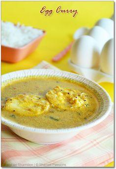 Egg Curry (Egg Gravy using coconut milk) - Sharmis Passions Egg Recipes Indian, Egg Recipes For Kids, Goan Recipes, Indian Dishes, Curry Recipes, Veggie Recipes, Real Food Recipes, Vegetarian Recipes, Cooking Recipes