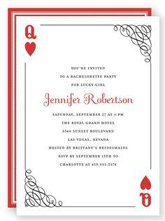 Ornate Queen of Hearts - Bachelorette Party Invitation