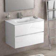 Ce meuble suspendu de salle de bain mesure 81 cm.Pourvu de deux tiroirs il offre un espace de rangement confortable. Ces derniers sont équipés de glissières avec système de fermeture amortie. Un soin particulier leur a été apporté : les côtés sont découpés à 45° pour leur permettre d'être totalement encastrés dans le meuble, les rendant quasiment invisible. La vasque en verre sans trop-plein, finition blanc, apporte une touche chic et moderne. Finition blanc laqué haute brillance.