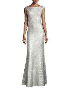 TBXG9 Herve Leger Sleeveless Metallic Bandage Mermaid Gown, Silver Gown
