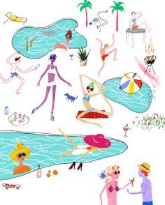 #illustration #art #print #LosAngeles LA pools, illustration for book Why LA? Pourquoi Paris? You can also purchase prints at https://www.etsy.com/shop/whyLApourquoiParis?ref=si_shop  © nicklu