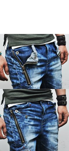 Bottoms :: Jeans :: Stripe Accent Zippered Semi-baggy-Jeans 137 - Mens Fashion Clothing For An Attractive Guy Look