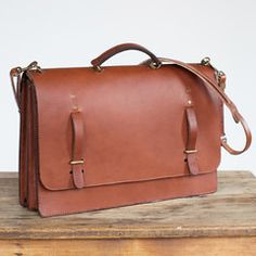 Briefcase in English Brown Leather