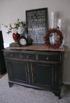 Black, distressed buffet..this looks just like my tv stand & end tables