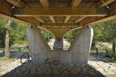 DANS arhitekti, Miran Kambic · Bicycle bridge across Sava River in Bohinjska Bistrica. Slovenia