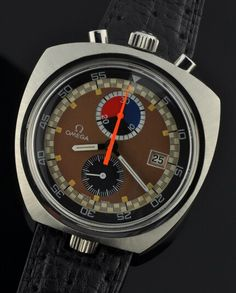 The most expensive Bullhead on the vintage market. The Omega chronograph bullhead with Lemania movement and extra crown at the bottom to set the inner rotating bezel. Special hole in the strap to use it with ease. Nice.