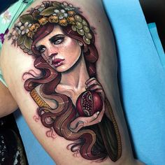 """6,386 Likes, 52 Comments - Hannah Flowers (@hannahflowers_tattoos) on Instagram: """"Persephone for the lovely Jenna """""""