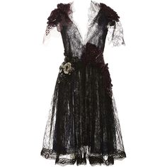 Rodarte Floral Embellished Lace Dress ($11,500) ❤ liked on Polyvore featuring dresses, a line cocktail dress, a line dress, cocktail mini dress, deep v neck dress and lace a line dress