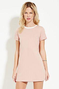 Contrast-Neck T-Shirt Dress- Green/Cream- Forever 21- $12.90