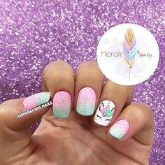 Many people have a passion for unicorn nails. And Unicorn nails are becoming a u… Nails For Kids, Girls Nails, Pink Nails, Glitter Nails, Little Girl Nails, Unicorn Nails Designs, Unicorn Nail Art, Hair And Nails, My Nails