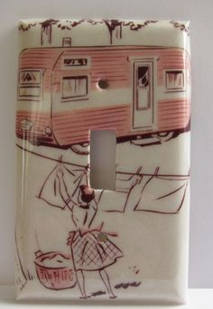 Campsite in Pink Light Switch Plate by robotcandy on Etsy, $10.00
