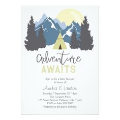 Camping Birthday Party Invitations Adventure Awaits Mountains Invitation
