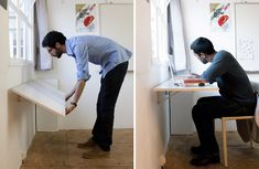 foldable workspaces along the perimeter of the space. Great for space saving…