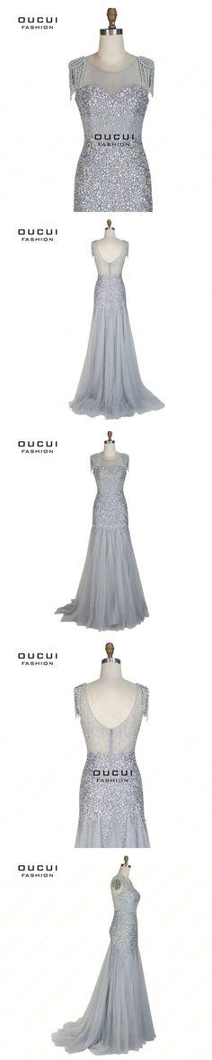 Real Photos Pattern Illusion Pearls Fabric Handmade Mermaid Long Evening Dress  Full Crystal Tulle OL103032