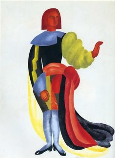 """hipinuff:  Alexandra Exter (Russian: 1882-1949), Costume design for """"Les Equivoques d'Amour,"""" c.1933. Gouache and pencil on paper, 59 x 43,5 cm.Russian artist Alexandra Exter created this costume design for """"Les Equivoques d'Amour"""" (""""The Ambiguities of Love""""), written by her friend, the French playwright Francis de Miomandre."""
