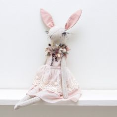 Image of Bunny in a pink dress with a lace - handmade heirloom doll