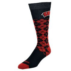 Mojo, Women's  Wisconsin Badgers Argyle Socks, Red