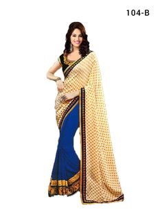 Saree: Rs.1850 +Shipping to order, visit the link http://www.thefirstbazaar.com/product/tfb-wedding-wear-designer-cream-blue-saree-104b/ #fashion #india #women #thefirstbazaar #saree #designersaree