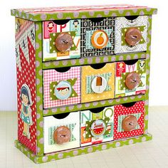 M&R - Make this with your old drawer set with the yellow knobs - Use scrapbook paper to cover.