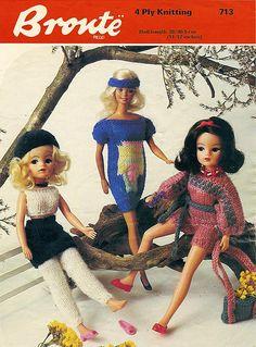 PDF Vintage Sindy Barbie Doll Clothes Kntting Pattern Fashion Barbie Clothes Patterns, Crochet Barbie Clothes, Clothing Patterns, Doll Patterns, Barbie Style, Sindy Doll, Barbie Dress, Knitted Dolls, Vintage Knitting