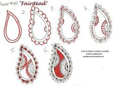How to draw Paisley Flower 25 Fairstead by Quaddles-Roost