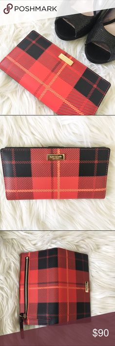 Kate spade newbury lane stacy plaid red wallet •Kate Spade New York PVC wallet with light gold toned hardware •Top snap closure •Zipper pocket in the back •Interior features 13 card slots, 4 billfold pockets, and 1 ID window •Approx. dimensions: 6.75 in L x 3.5 in H x 0.75 in W kate spade Bags Wallets