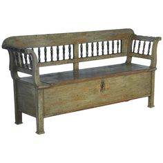 Antique Original Green Painted Bench with Storage, Dated 1855 | From a unique collection of antique and modern benches at http://www.1stdibs.com/furniture/seating/benches/