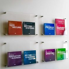 Acrylic A4 leaflet holders fixed to the wall with stand off fixings. Use to display brochures and leaflets in waiting rooms, showrooms and reception areas.