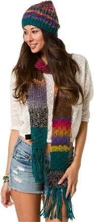 Women's Holiday Gift Guide Feature -O'NEILL CELESTIAL SCARF   O'Neill multicolor knit scarf.  Fringe trim.  Multicolor stripes.  Metal logo tag near hem.