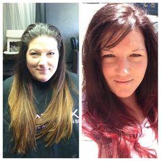 Carmel to red ombré. Amy Livingston- Salon Nuage