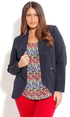 City Chic NAVY BLAZER JACKET  - Plus Size Fashion